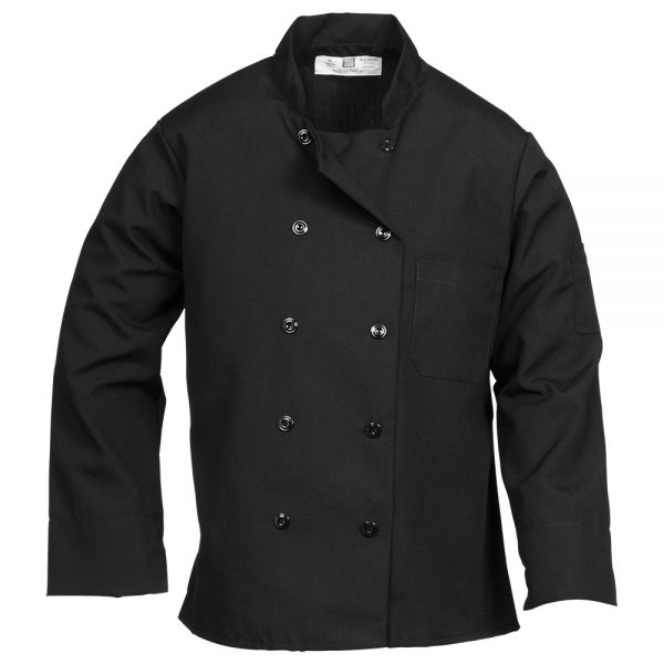Black Chef Coat with Pearl Buttons