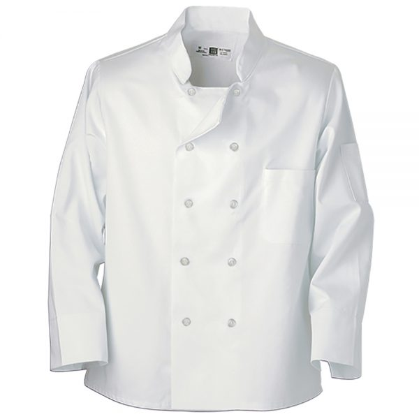 white chef coat with pearl buttons