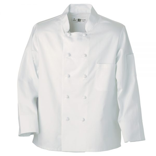 white chef coat with knot buttons